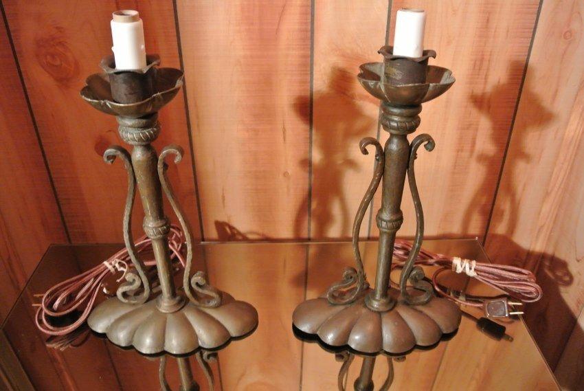 Roy craft hamered bronze table lamps