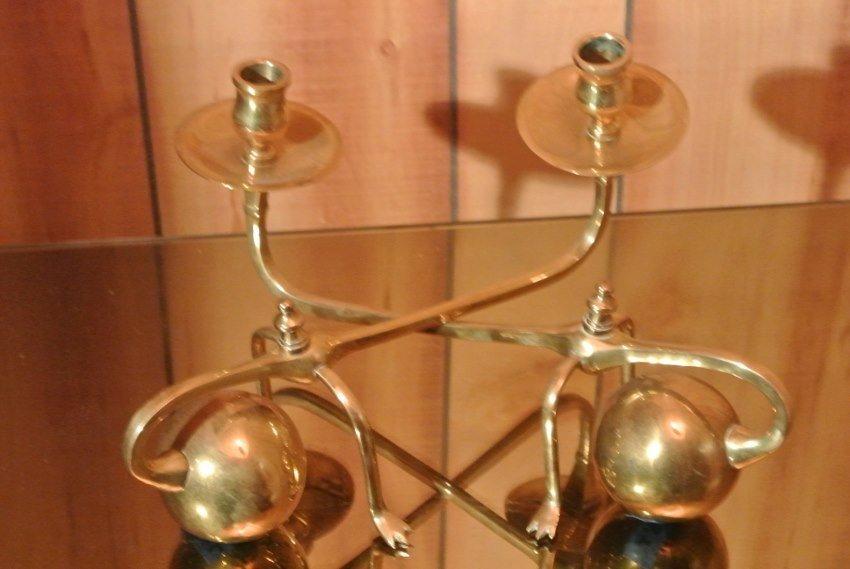 Pair of heavy brass  spheral candel holders