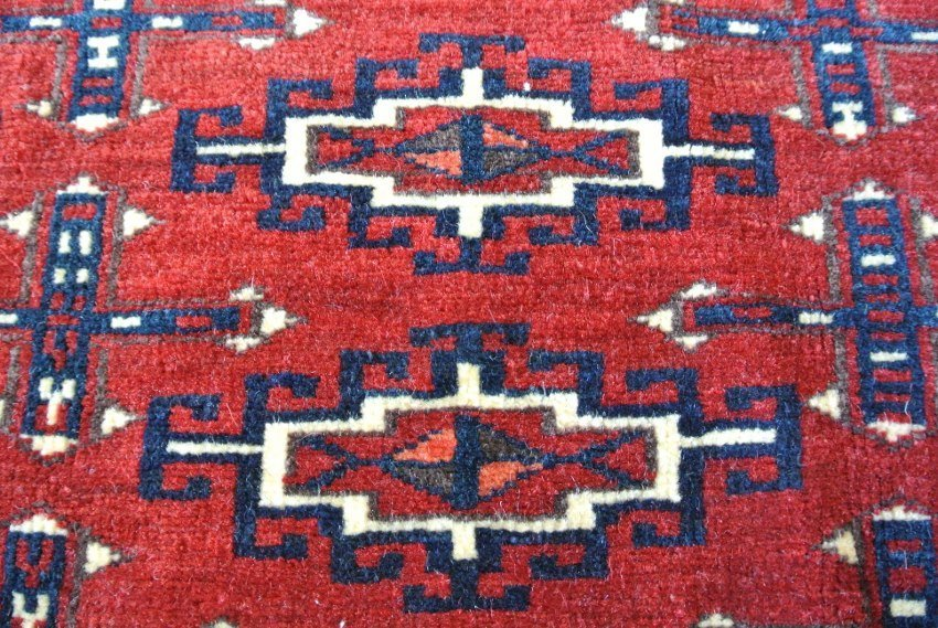 Persian carpet Antique signed Turkmen seat chushen