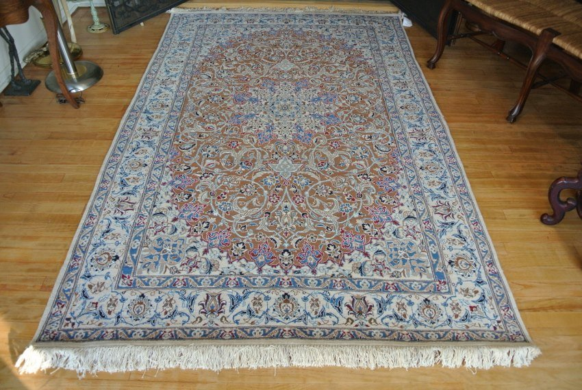Persian carpet wool and silk Nain