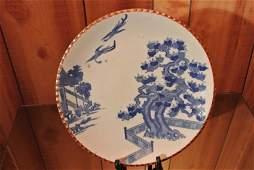 Flow blue Qianlong antique handmade dish