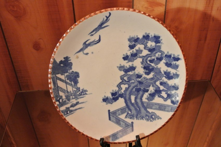 Flow blue Qianlong antique handmade dish