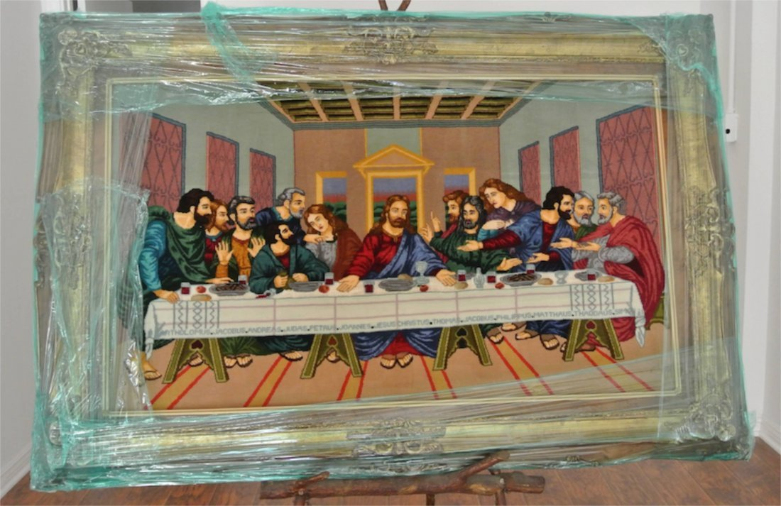 Persian carpet pictorial signed image of last supper