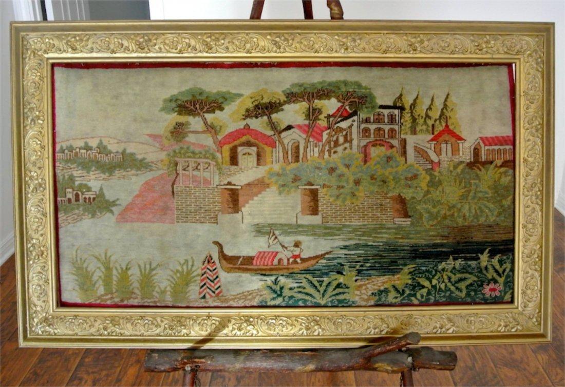 Antique Pictorian carpet of scenaryMohtasham work shop
