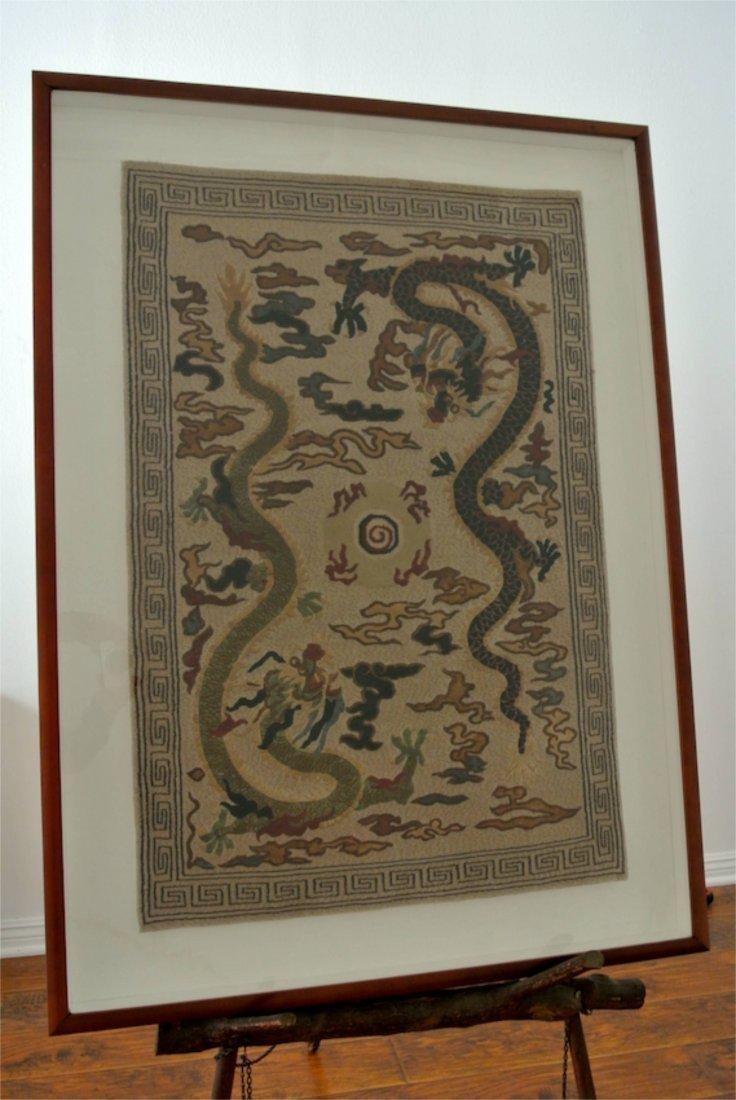 Pair of Pictorian carpet of Dragon play the ballTibetan