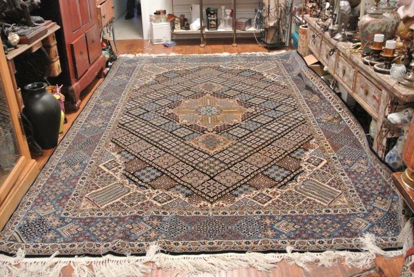Persian carpet Isfahan silk weft and inlay hand made