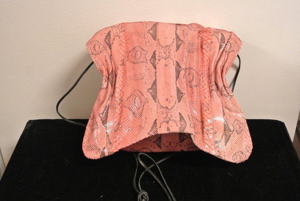 Snakeskin unisex pink shoulder or crossbody bag