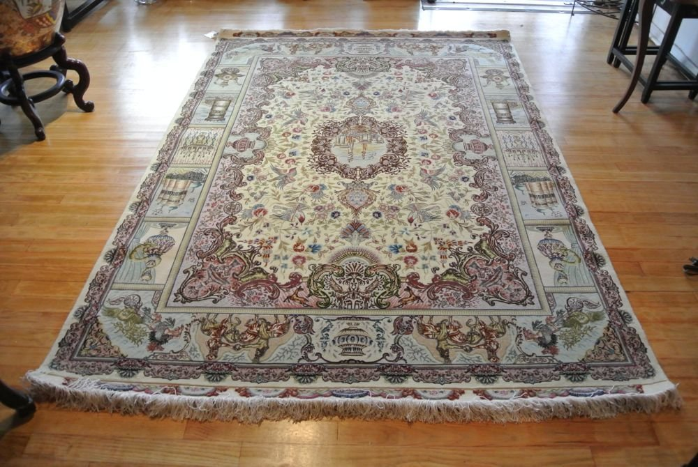 Persian carpet authentic Tabriz silk weft