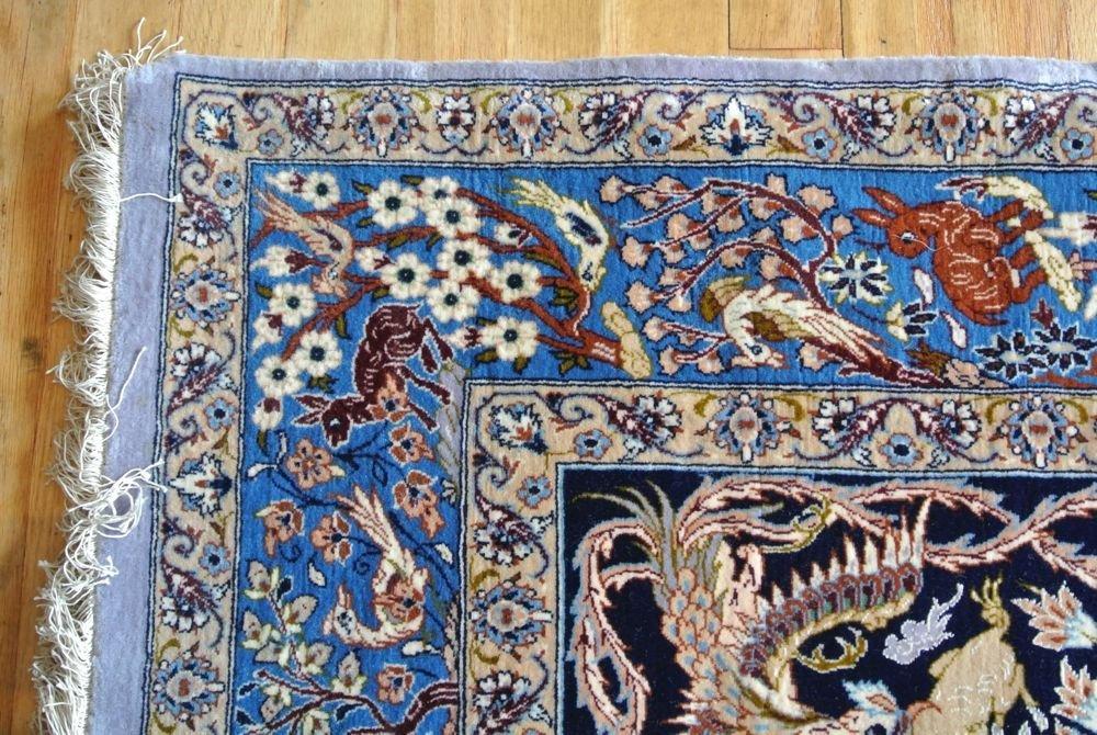PERSIAN CARPET PRAYER RUG SILK WEFT ISFAHAN SIGNED - 3