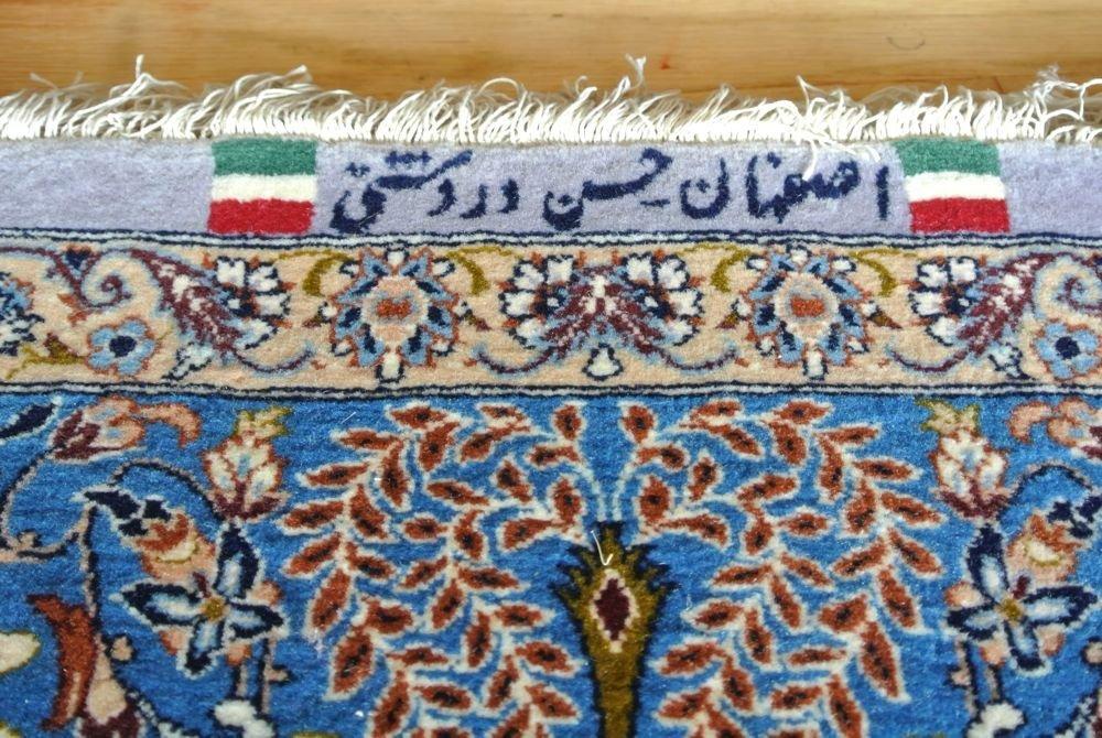 PERSIAN CARPET PRAYER RUG SILK WEFT ISFAHAN SIGNED - 8
