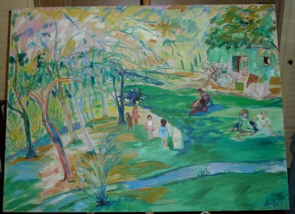 Park impressionist botanical illustrations painting