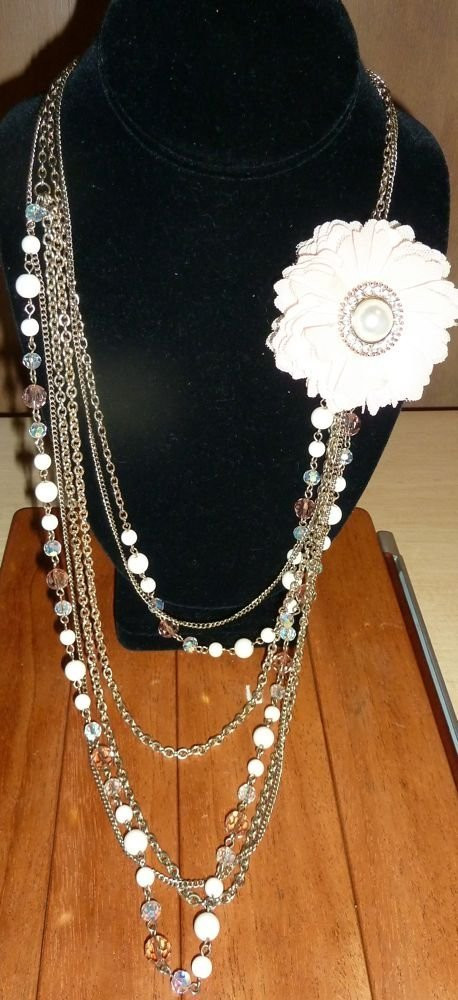 Corsage on multistrand , crystal, beads, chain