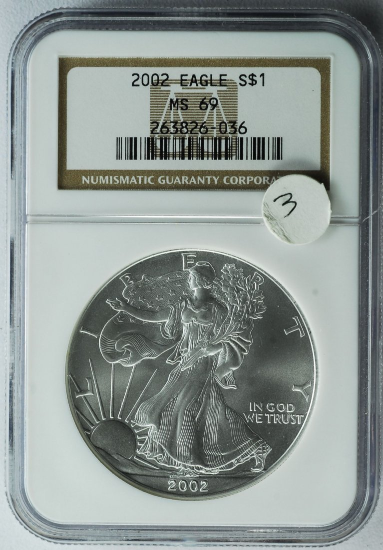 2002 American Silver Eagle MS 69 NGC
