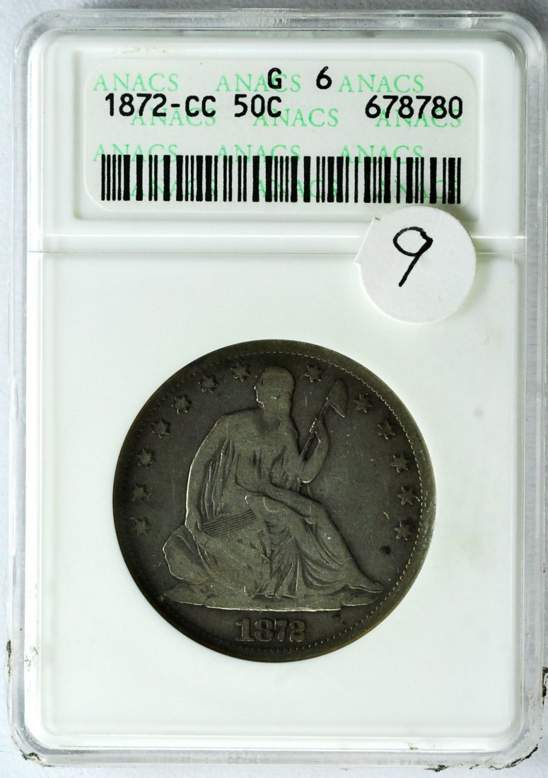 1872 Carson City Seated Liberty Half Dollar
