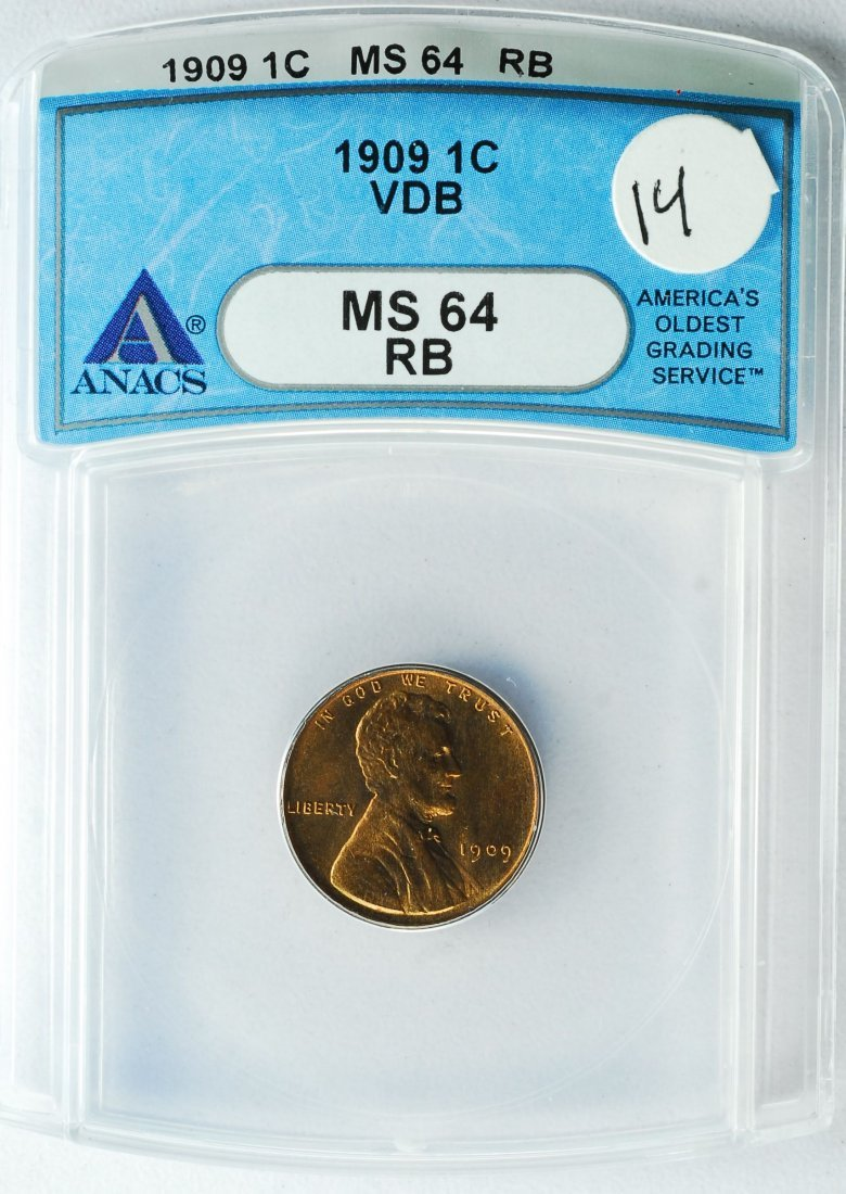 1909 VDB Lincoln Cent MS 64 RD ANACS