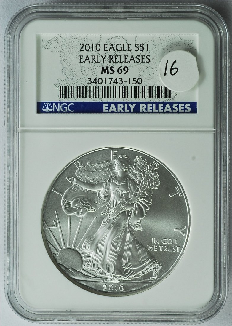 2010 American Silver Eagle MS 69 NGC ER
