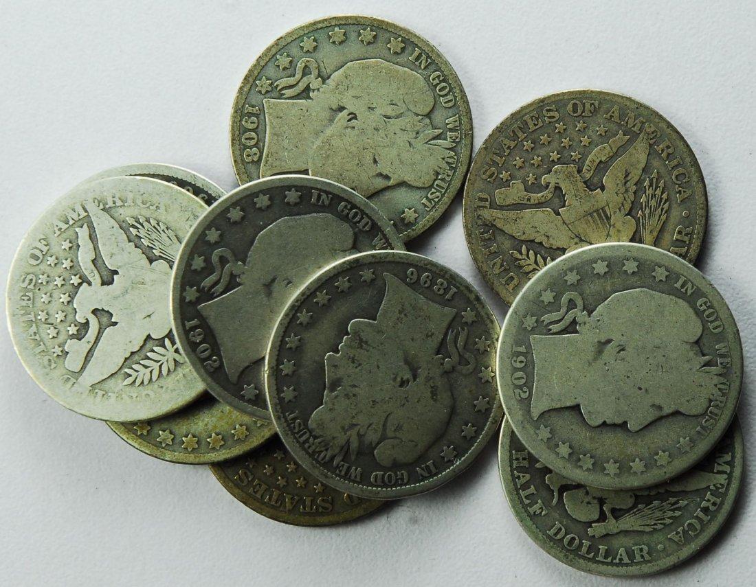Lot of 10 Mixed Silver Barber Half Dollars
