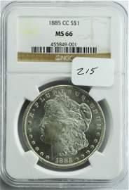 1885 CC Morgan Silver Dollar MS-66 NGC!