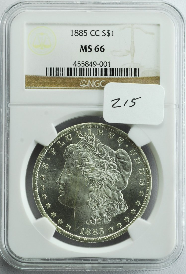 1885 CC Morgan Silver Dollar MS-66 NGC!