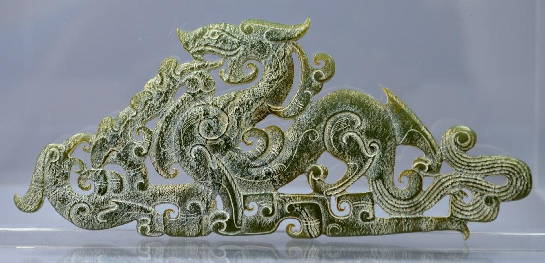 CHINESE SONG DYNASTY STYLE CARVED JADE DROGON PLATE