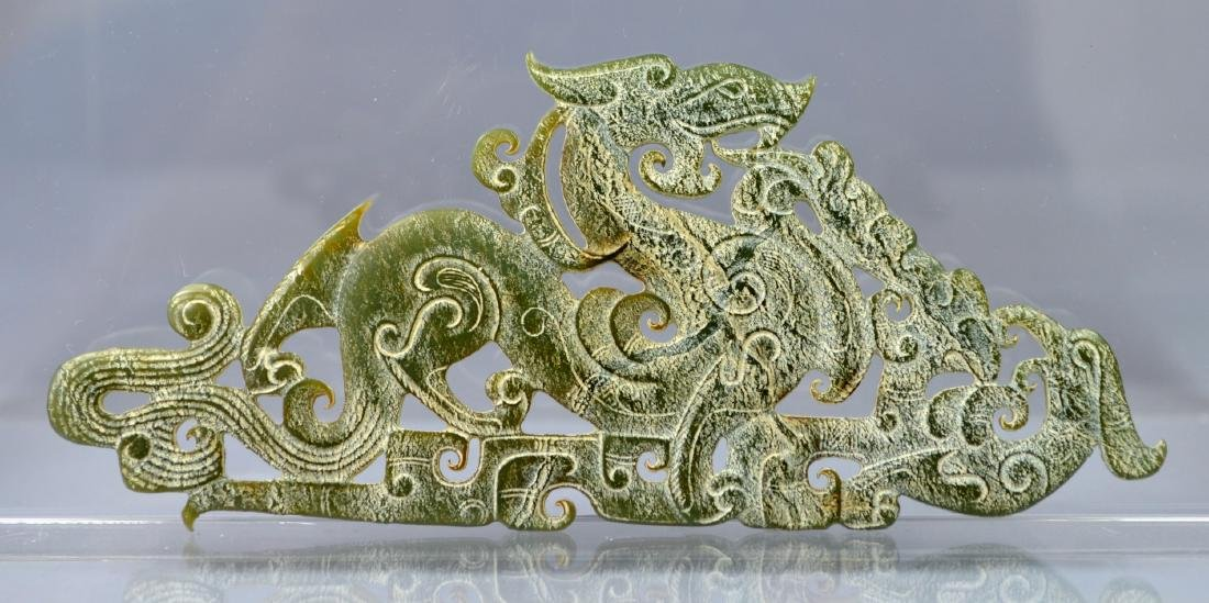 CHINESE SONG DYNASTY STYLE CARVED JADE DROGON PLATE - 2