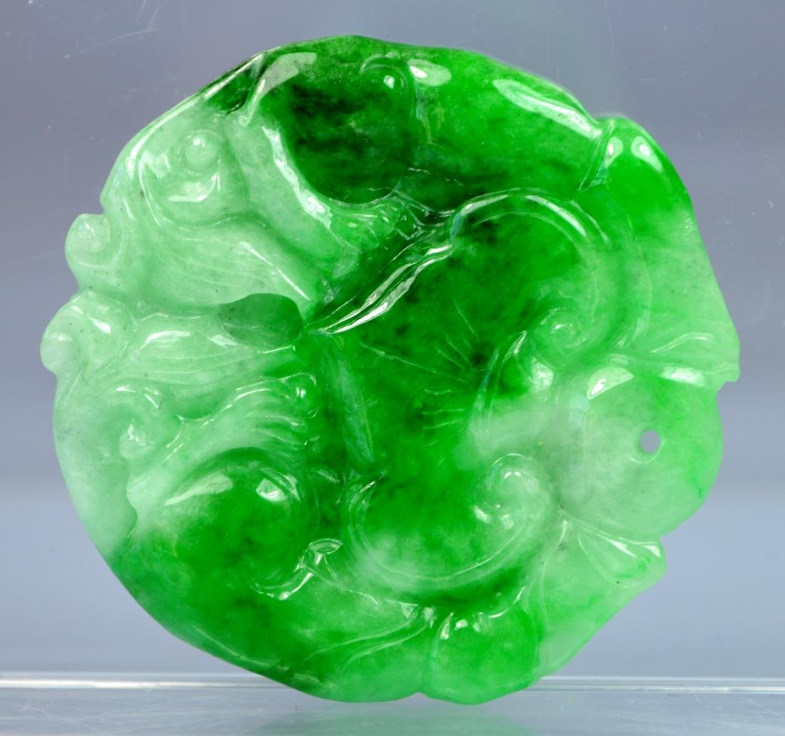 CHINESE CERTIFIED GRADE A GREEN JADE CARVED RUYI - 2