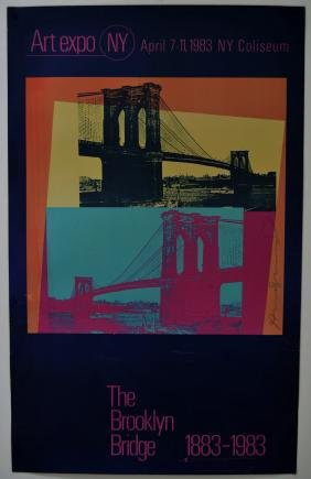 Andy Warhol Signed Brooklyn Bridge Poster