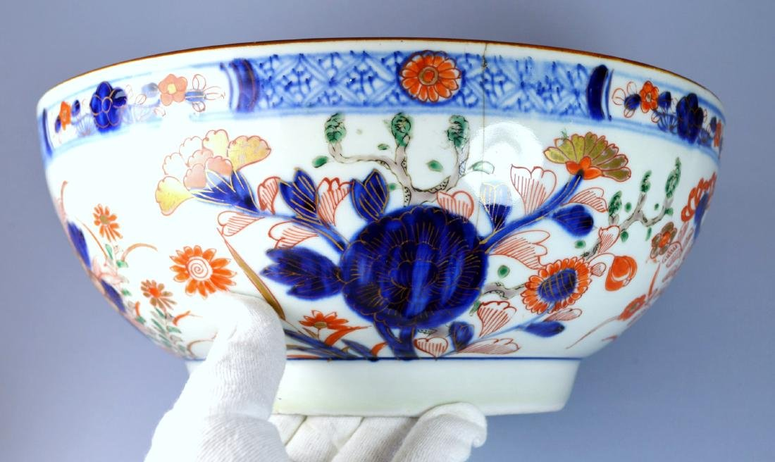 CHINESE QIANLONG VERY LARGE PORC BOWL 18TH C - 6
