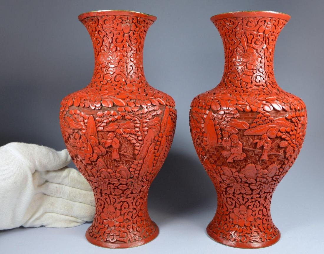 CHINESE QIANLONG LARGE CINNABAR VASES (PR) 19TH C