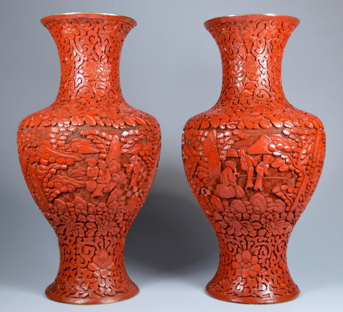 CHINESE QIANLONG LARGE CINNABAR VASES (PR) 19TH C - 2