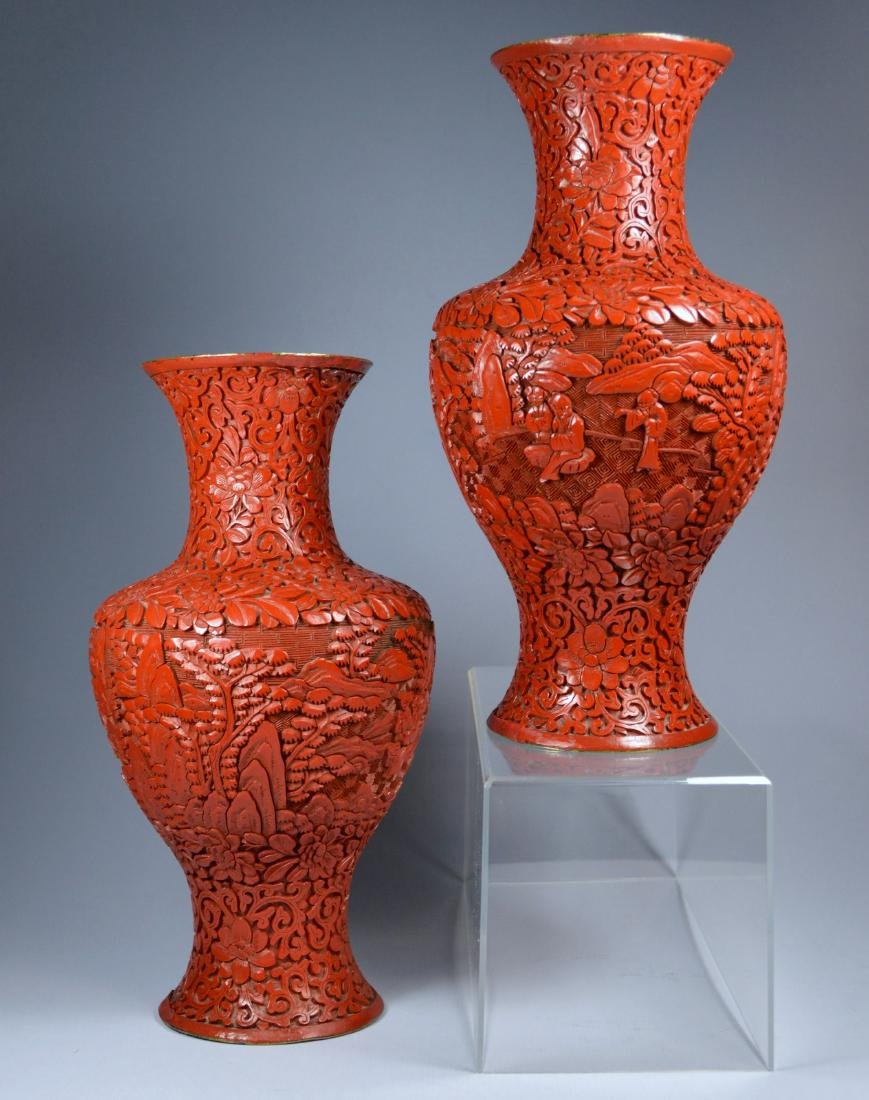 CHINESE QIANLONG LARGE CINNABAR VASES (PR) 19TH C - 3