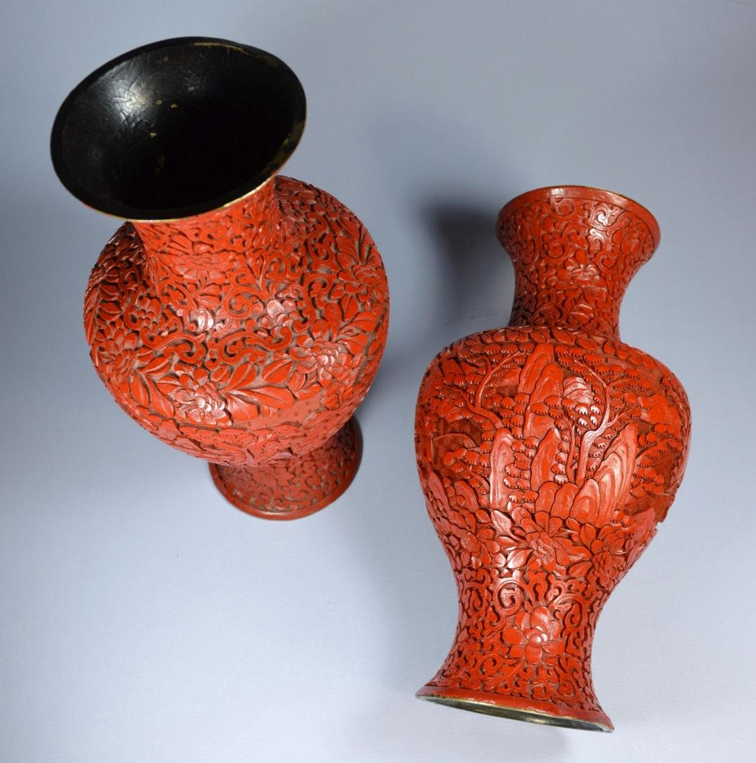 CHINESE QIANLONG LARGE CINNABAR VASES (PR) 19TH C - 4