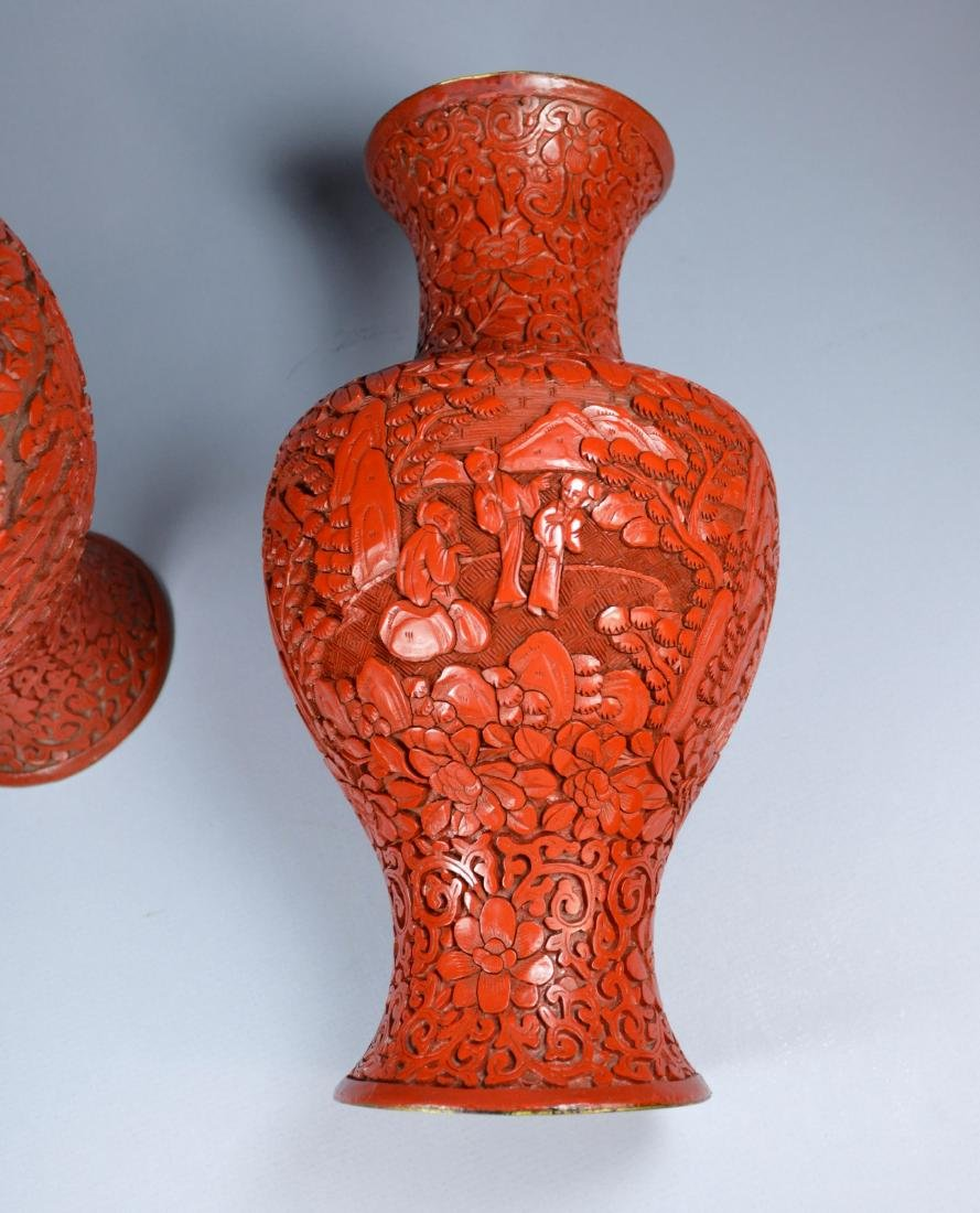 CHINESE QIANLONG LARGE CINNABAR VASES (PR) 19TH C - 5