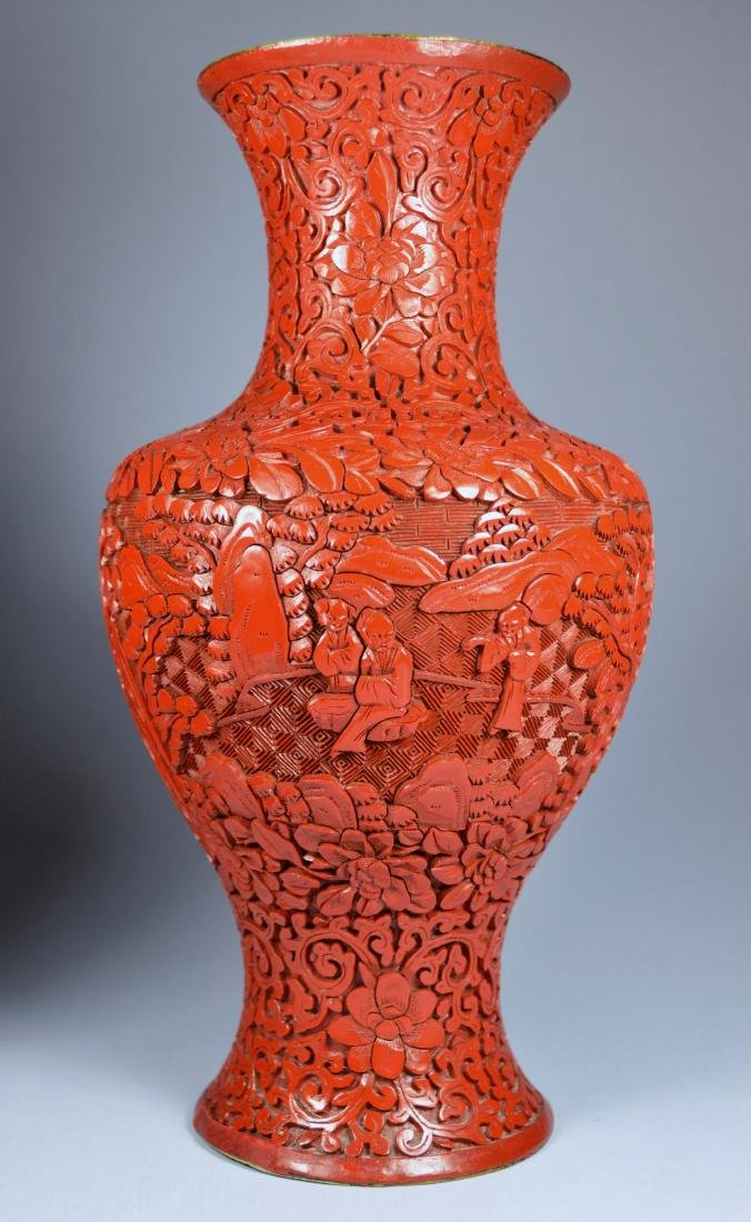 CHINESE QIANLONG LARGE CINNABAR VASES (PR) 19TH C - 7