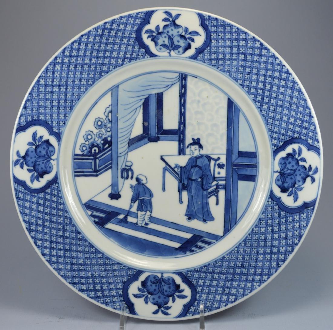 CHINESE PORC FIGURAL PORC PLATE CA.15TH C