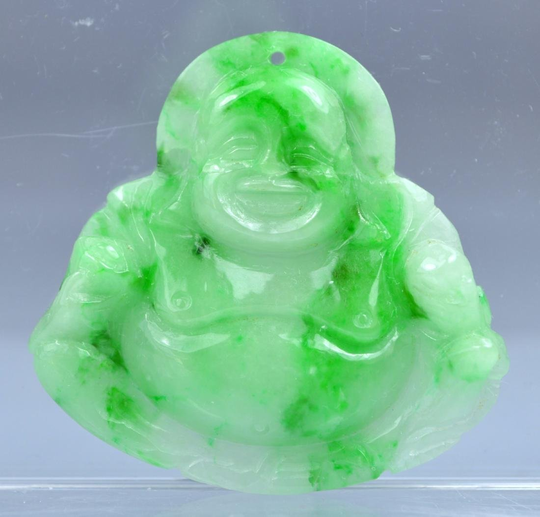CHINESE GR A CARVED JADE BUDDHA AMULET PENDANT