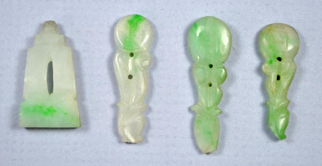 CHINESE ANTIQUE CARVED GREEN JADE BUTTONS, MANDARIN