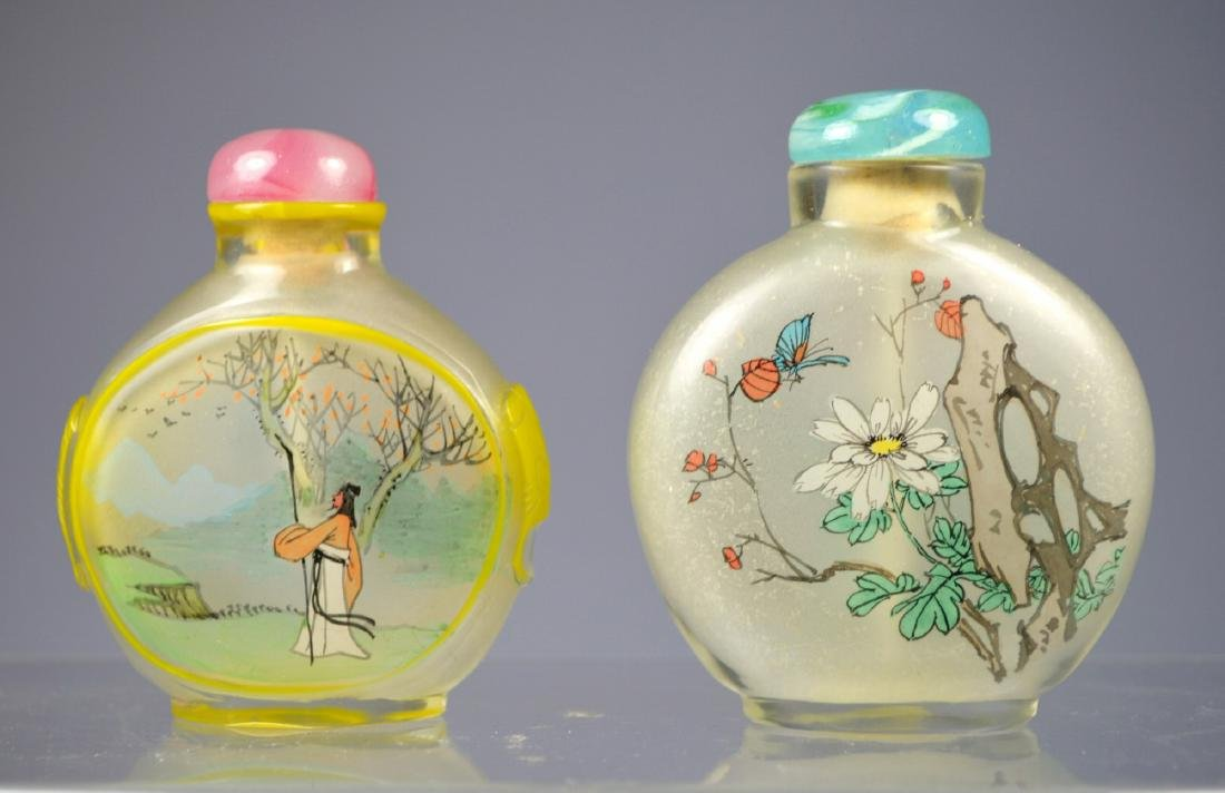 CHINESE  ANTIQUE INSIDE PAINTED SNUFF BOTTLES (PAIR)