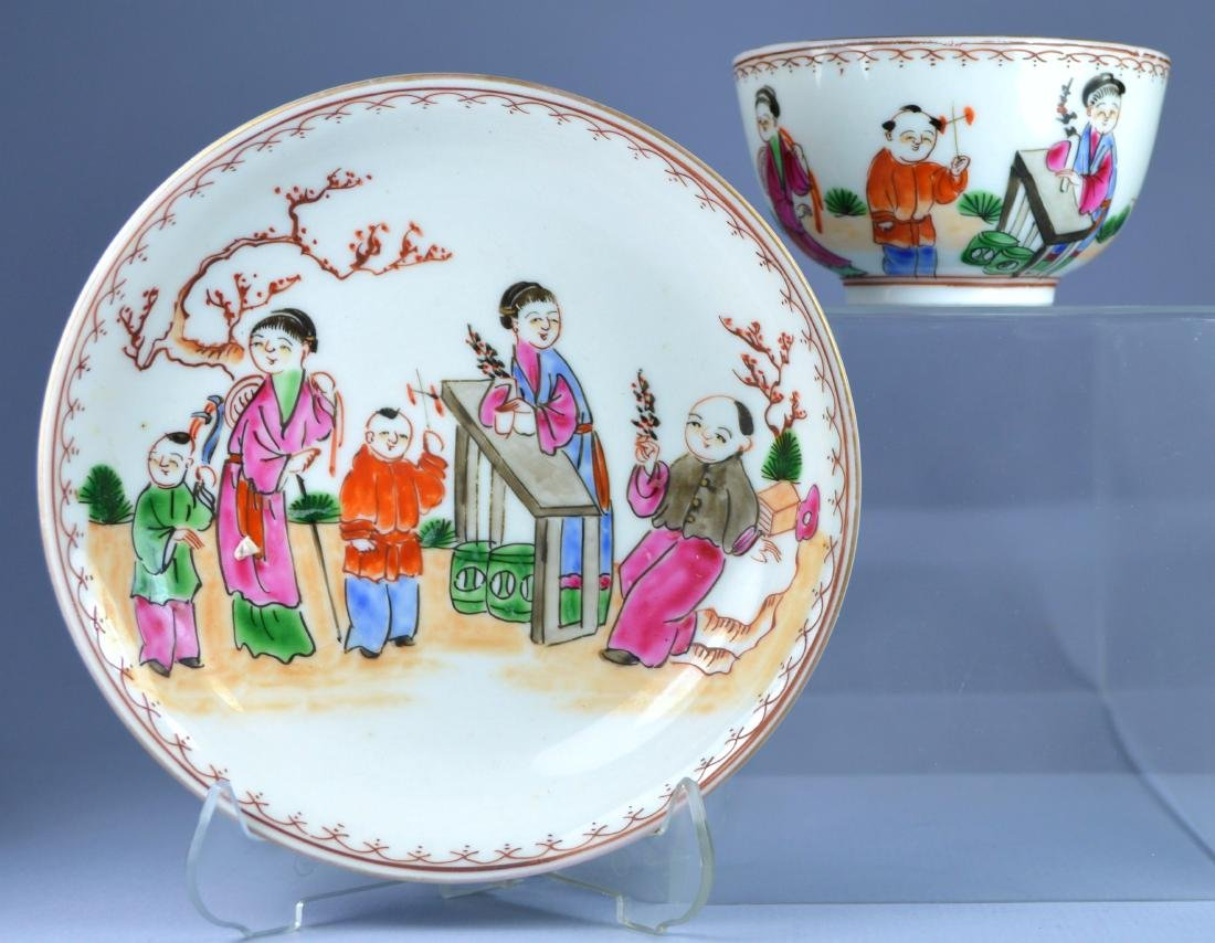CHINESE MANDARIN FIGURAL SAUCER AND CUP SET CA. 18TH C