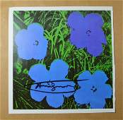 ANDY WARHOL VINTAGE LITHOGRAPH FLOWERS BLUE TONE