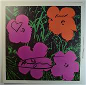 ANDY WARHOL VINTAGE LITHOGRAPH FLOWERS PINK TONE