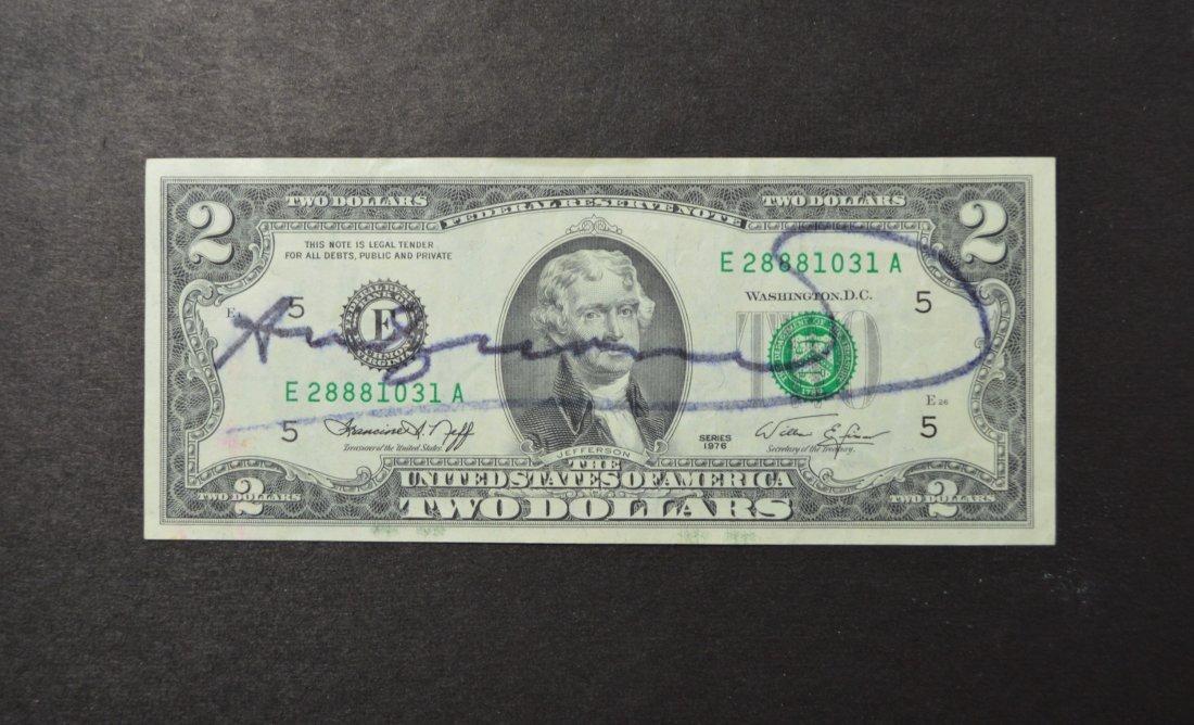 ANDY WARHOL SGD TWO DOLLAR BILL 1970'S