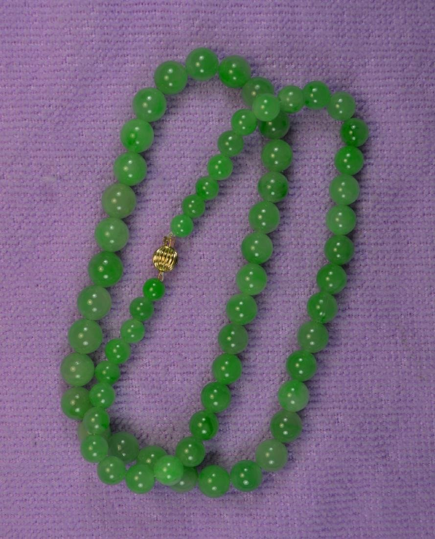 CHINESE TOP GREEN JADE BEAD NECKLACE 14KT CLASP