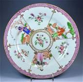 CHINESE MANDARIN FIGURAL PORCELAIN PLATE CA 1780