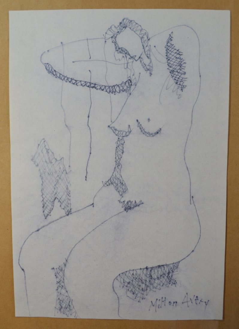 MILTON AVERY ATTR INK DRAWING