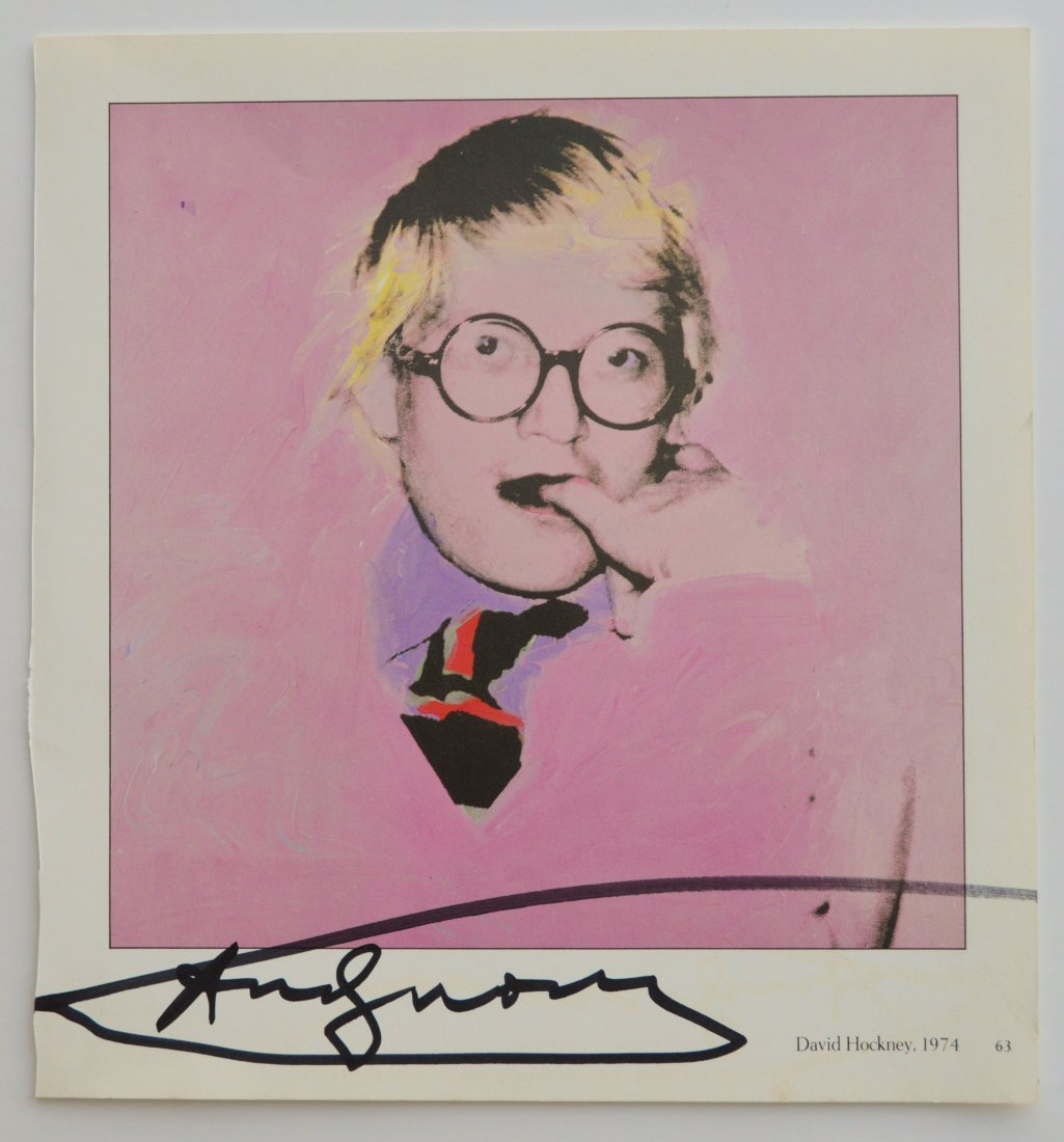 "ANDY WARHOL SIGNED VINTAGE PRINT ""DAVID HOCKNEY"""