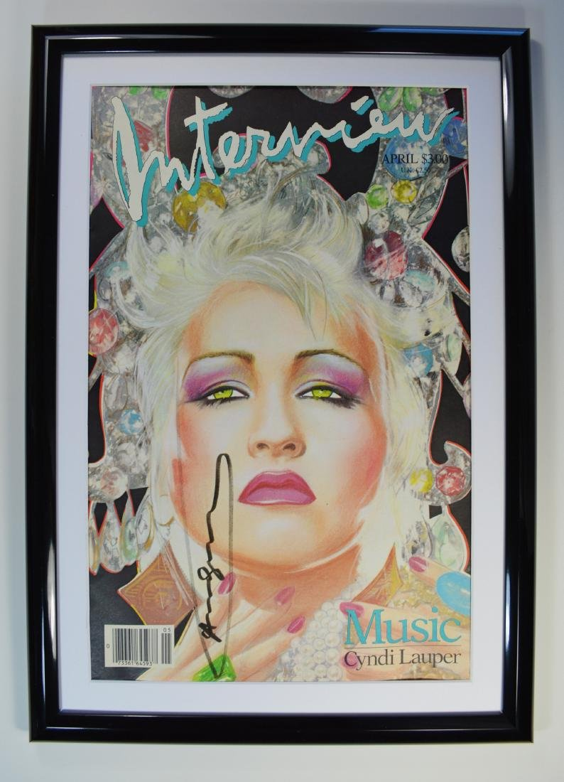 "ANDY WARHOL INTERVIEW MAGAZINE SIGNED ""CYNDI LAUPER"""