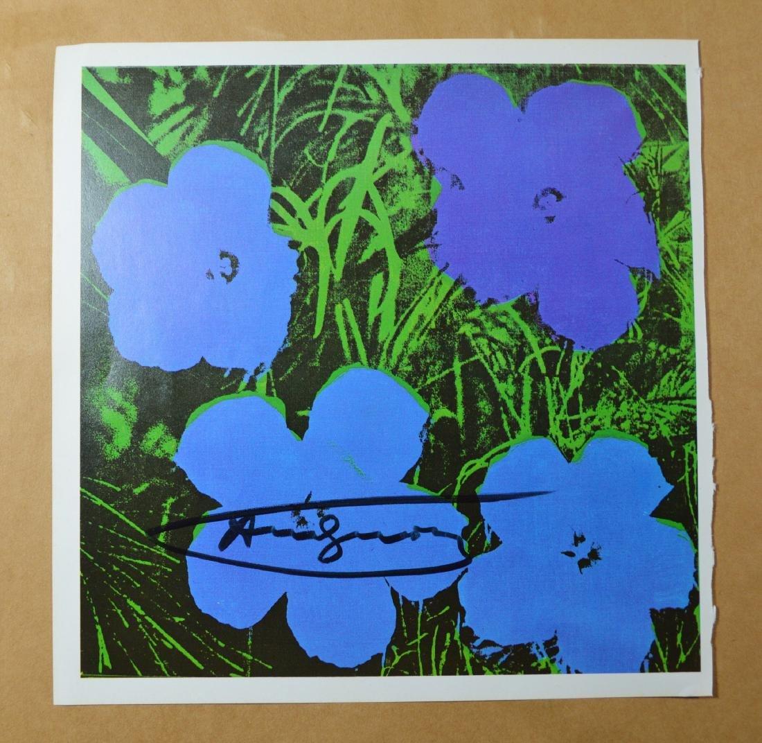 "ANDY WARHOL VINTAGE PRINT ""FLOWERS"" BLUE TONE, SIGNED"