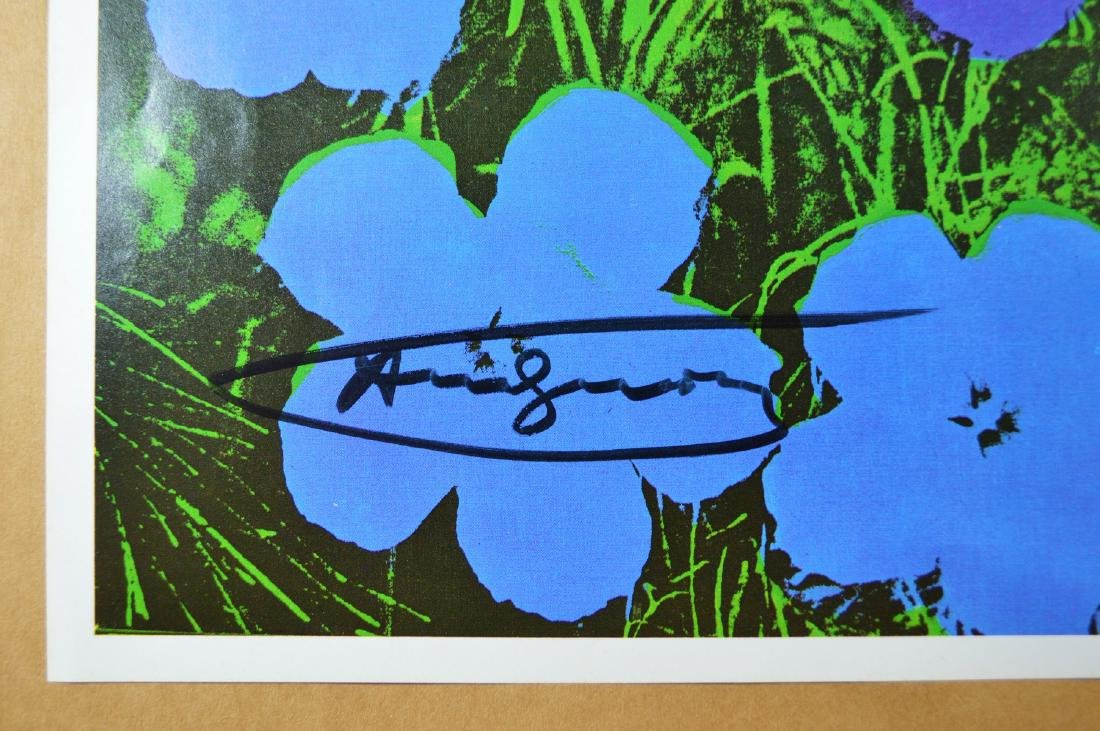 "ANDY WARHOL VINTAGE PRINT ""FLOWERS"" BLUE TONE, SIGNED - 2"