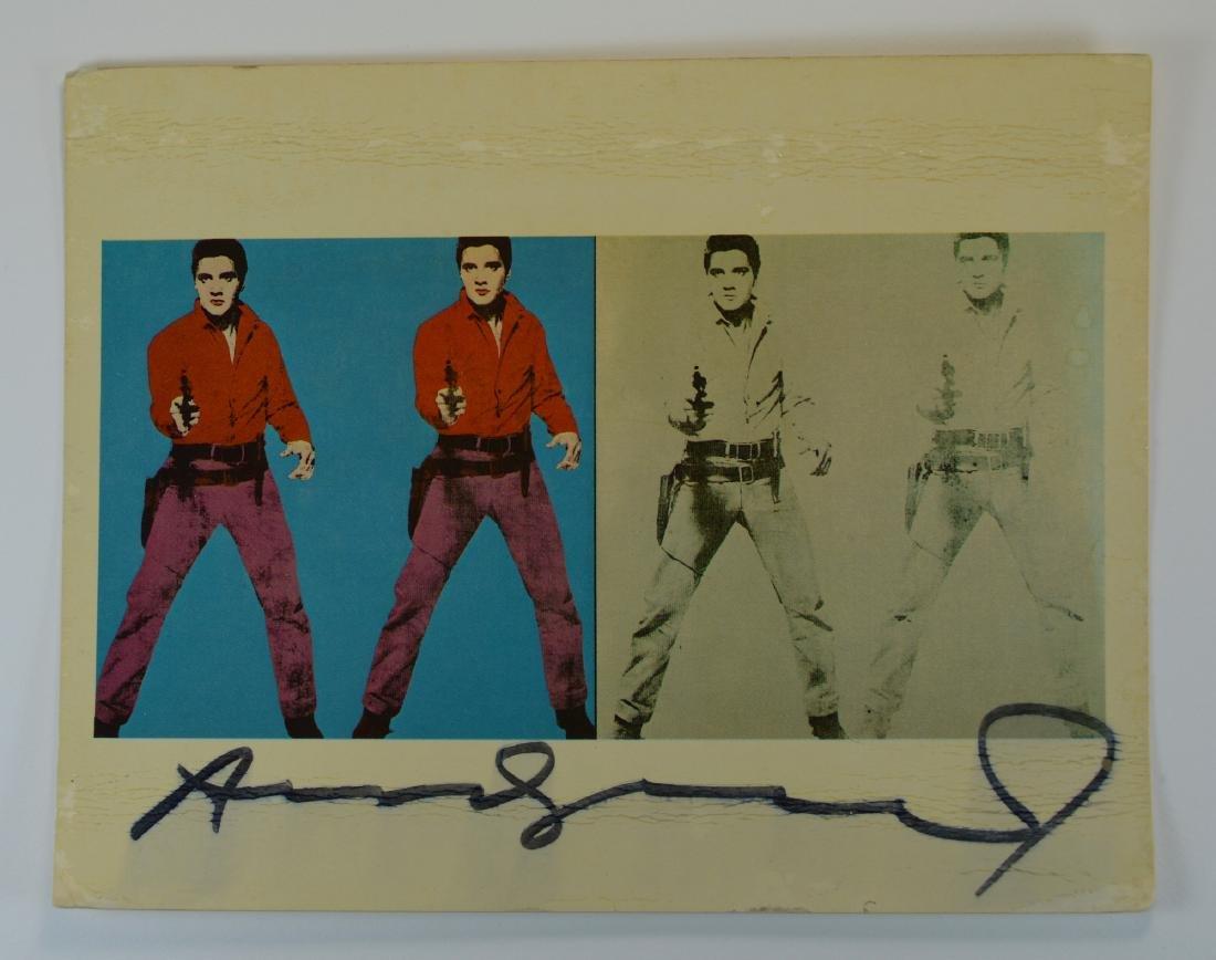 ANDY WARHOL SIGNED ELVIS PRESLEY POSTCARD CA. 1970'S